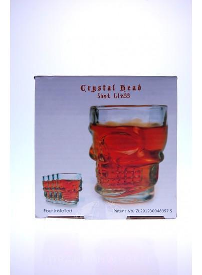 Shot glazen Crystal Head Skull 4 stuks